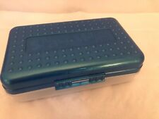 Spacemaker Pencil Box Blue Clear Vintage 90's Plastic Storage Box School Office