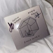 SIGNED Justin Bieber + Ariana Grande Stuck With U CD IN HAND READY TO SHIP NEW