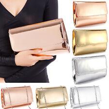 Women's Ladies'Metallic Mirror effect Clutch Bag Party Prom Handbag Delicate