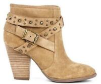 Womens Ankle Boots High Block Heel Buckle Rivet Casual Zip Shoes Size UK 2.5-9