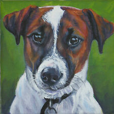 JACK RUSSELL TERRIER dog art canvas PRINT of lashepard painting LSHEP 8x8""