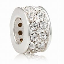 925 STERLING SILVER CLEAR CRYSTAL SPACER CHARM BEAD FITS EUROPEAN BRACELET S648