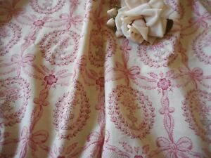 Antique French Shabby Cameo Floral Garland Cotton Fabric #1~ Raspberry Rose Pink