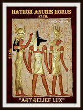Relief Bajorrelieve egipcio Dimensiones 62cm.42cm.Relieves egipto Anubis Hathor