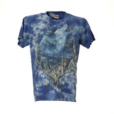 Damen T-Shirt Wolf Motiv Print Größe M Blau Kurzarmshirt Freizeit