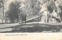 Elkhart Indiana~Island Park Entrance~Wooden Ramp & Stairs to Bridge~1907 B&W PC
