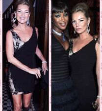 Kate Moss Topshop Black Gold Embellished Mesh Sequin Beaded Flapper Dress 6 2 XS