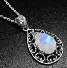 Classic 925 Sterling Silver Moonstone Pear Gemstone Pendant Necklace Gift Boxed