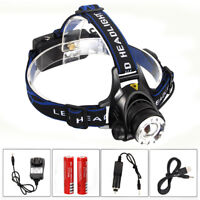 10000Lm XM-T6 LED Zoom Focus Headlamp Camping Head Torch USB Rechargeable 18650