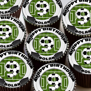 FOOTBALL YOUR AGE BIRTHDAY PARTY PERSONALISED EDIBLE ICING CUPCAKE TOPPER 025