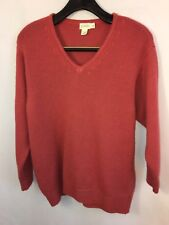 J.CREW Women's Sweater M 100 % Shetland Wool V Neck Roll Collar Made In Italy