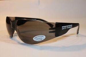 2 Pairs  x  Bifocal Smoke Safety Glasses Shaterproof  UV100 Workware  +1.50