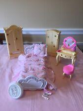Mattel Barbie Doll Bedroom Furniture Set (1)-Bed, Vanity, Armoires,Chair&Extras