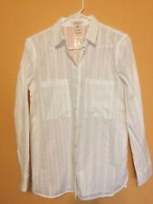 NWOT Sundance ladies ls white blouse striped XS great quality!