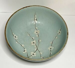 Kafuh Cherry Blossom Serving Bowl Light Blue Brown Pottery Stoneware Japan