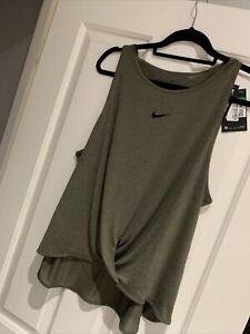 Womens Nike Dri-Fit Just Do It Khaki Vest Size XL