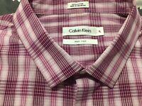 Calvin Klein Non-Iron Shirt Mens Large Red Pink White Lon Sleeve Checkered