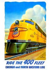 ART PRINT POSTER TRAVEL TRAIN RAIL LOCOMOTIVE ENGINE YELLOW FLEET USA NOFL1388