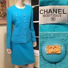 CHANEL Sz 42 US 12/Large Teal Blue Wool/Mohair Tweed Classic 2-Piece Skirt Suit