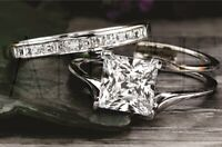 14K White gold 3.68ct Princess cut Diamond Bridal Engagement Ring Wedding Band