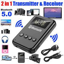 2in1 Bluetooth 5.0 Transmitter Receiver Wireless Tv Audio 3.5mm Adapter w/Screen
