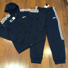 adidas Mens Hoodie Jacket Pants Climalite L Tracksuit Blue New