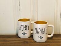 Rae Dunn Summer by Magenta BUMBLE Bee, HONEY Bee, Yellow Interior Mug, Set of 2