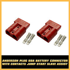 H/Duty Red  2 x 50amp Anderson Power Plugs Terminals Battery Connectors 12V 24V