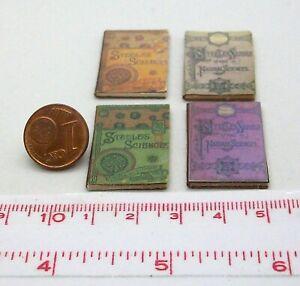 1828# Kleines Deko-Bücherset mit 4 Büchern - Puppenhaus - Puppenstube - M 1zu12