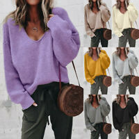 Women's Loose Knitted Pullover Jumper Sweater V Neck Long Sleeve Knitwear Top UK