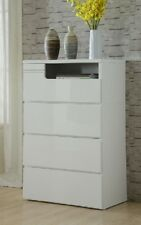 Assembled Swansea 4 Drawer High gloss white Tallboy chest of drawers
