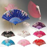 Chinese Lace Silk Flower Folding Hand Held Dance Fan Party Wedding Women Gift MA