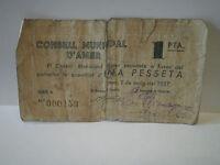 BILLETE LOCAL DEL CONSEJO MUNICIPAL DE AMER. 1 PESETA DEL AÑO 1937. GUERRA CIVIL