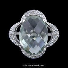 Oval Fantasy Cut Green Quartz Ring w/ Curved Flower Design Diamond Bezel in 14k
