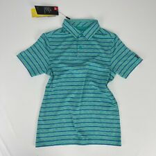 Under Armour Boys Youth Playoff 2.0 Tour Stripe Green Polo Collared Shirt Medium