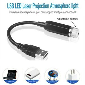 LED Car Roof Star Night Light Projector Atmosphere Galaxy Lamp USB Decorative ON