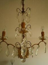 LUSTRE PAMPILLE BRONZE 4 FEUX DECO CLASSIQUE LAMPE LUMINAIRE CHANDELIER PENDANT
