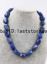 "lapis lazuli blue baroque faceted necklace 18"" nature wholesale beads 20-25mm"
