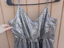 BARI JAY BRIDESMAID DRESS ANTIQUE SILVER SEQUIN WITH EXTRA FABRIC SIZE 6 8 10 12