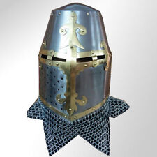 Crusader Great Helmet King Helmet With Brass And ChainMail Costumes W