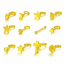 1pcs Pure Solid 999 24K Yellow Gold Earrings/ Craved Unique Earring Stud / 0.3g