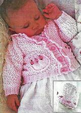 """Baby/toddler/girl rosebud cardigan and hat knitting pattern 16""""-26"""" DK 142"""