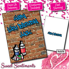 Personalised Graffiti Tag Kids Teenager Birthday Card A5 Large Your Name & Age