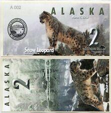 ALASKA - Billet de 2 NORTHERN DOLLAR - Série ANIMAUX : LEPOARD NEIGE 2016 - NEUF