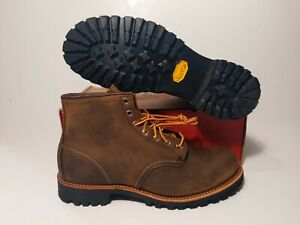RED WING MEN'S  2947 ROUGHMECK ROUND TOE LUG BROWN BOOTS SIZE: 10