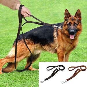Genuine Leather Dog Leash Large Breeds Walking Traffic Leads w/Dual Handle Brown