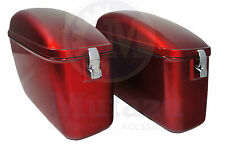 Mutazu LW Universal Hard Saddlebags Red for Yamaha Honda Suzuki Kawasaki Harley