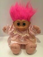 "1980's RUSS 12"" TROLL GIRL Light PINK Satin DRESS PLUSH SOFT BODY DOLL"