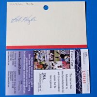 BOB HAZLE SIGNED 3x5 INDEX CARD ~ 1957 MILWAUKEE BRAVES - D. 1996 ~ JSA L08245