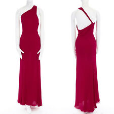 GIANNI VERSACE Vintage red crinkle silk twist strap open back gown dress IT40 S